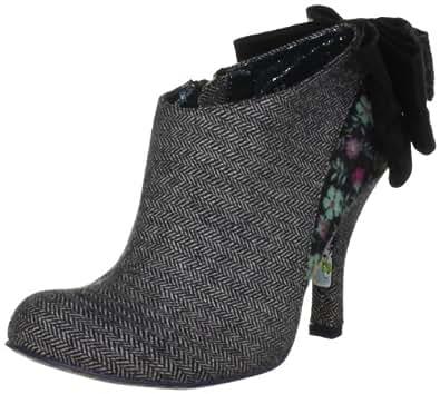Irregular Choice Women's Baby Beauty Cotton Fabric Grey/Black Booties Heels 3975-1L 6 UK