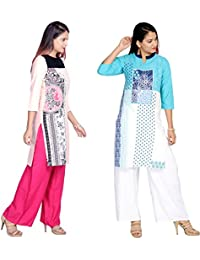 Prateek Export Cotton Printed Straight Long Kurti/Kurta - B07D36LTB9