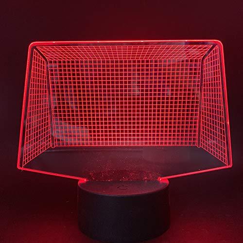 Fußball Tor 3D Nachtlicht Bunte Touch 3D Kleine Tischlampe Usb Stereo Vision Tischlampen Für Wohnzimmer Neujahr Halloween Party Geschenk