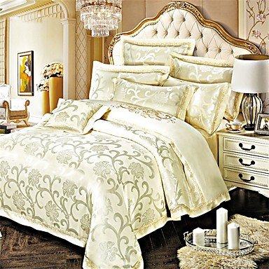 Y&M Luxus Jacquard Seide Bettwäsche aus Baumwolle Mischung 4-teilig Quilt Abdeckung Blatt Kissen Fall , queen