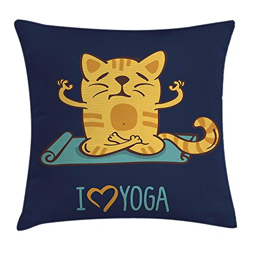ZMYGH Animal Throw Pillow Cushion Cover, I Love Yoga Theme Cute Cartoon Cat Exercise Mat Lotus Position, Decorative Square Accent Pillow Case, Dark Blue Light Blue Yellow 18x18inches -