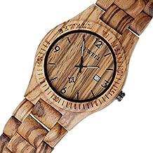 Uomini di legno Watch, iHee Bewell ZS-W086B Movimento Giorno Legno display analogico al quarzo leggero Vintage vigilanza di