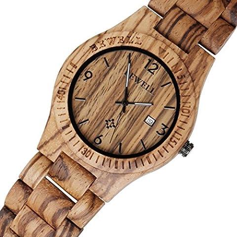 Montre Poignet en bois, ihee Bewell zs-w086b Pèse-personne léger Hommes en bois montre à quartz analogique, mouvement jour affichage rétro en bois Smart Watch