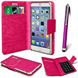 N4U Online� - ZTE Blade Q Mini PU Leather Suction Pad Wallet Case Cover & High Sensitive Stylus Pen�- Hot Pink