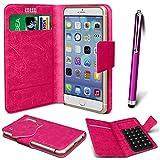 N4U Online® - Parla Gala PU-Leder Saugnapf Mappen-Kasten-Abdeckung & High Sensitive Stylus Pen - Pink