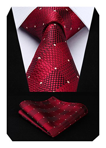 HISDERN Extra Long Check Krawatte Taschentuch Herren Krawatte & Einstecktuch Set Rot-Weiss