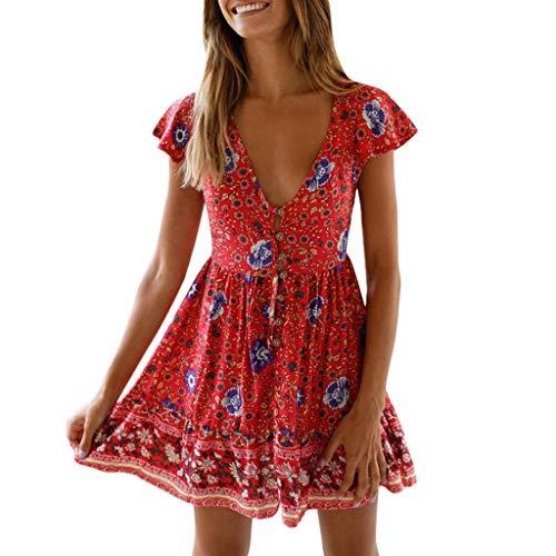 3fc2d093ef Muium_donna Abito Donne Elegante Bohemian Vestiti Elegante Casual Sexy  V-Collo Dress Schienale Corto Cintura