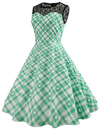 Frauen Grün Klee und Streifen Print Kostüm