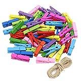 KEESIN Photo Clips Mini Coloré Pinces à linge En Bois Photo Papier Peg DIY Artisanat Clips avec 10 m Jute Ficelle 100 PCS, Radom Couleur (couleur-100 PCS)