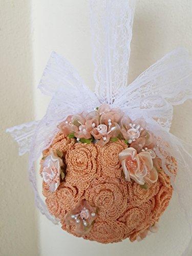 Rosa pesco bouquet da sposa/damigella d'onore matrimonio nozze party shabby chic in stile vintage rustico handmade, composto da fiori artificiali, roselline lavorate all'uncinetto, arricchito da nastri in pizzo e fiorellini in organza.