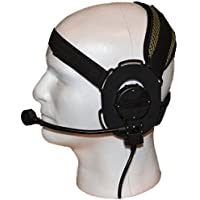 Z-TAC Z-Tactical Z029Micrófono táctico de radio para cabeza, con correa verde, se puede colocar en el lado derecho o izquierdo, color negro, para caza con armas de aire comprimido
