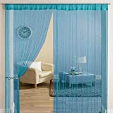 HFI Solid Tabtop Polyester Door Curtain - 7ft, Aqua Blue