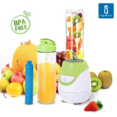 Aigostar Greenberry 30JHU - Frullatore Smoothie Maker con 2 bottiglie viaggio in Tritan da 600ml e 1 tubi frigoriferi, Mini Frullatore BPA FREE, 600W. Design esclusivo.