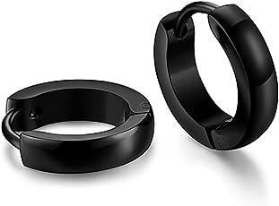 Caratcube Black Stainless Steel Hoop Earrings For Unisex