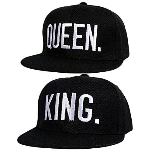 2PCS King und Queen verstellbar Hip-Hop Hüte 3D Fashion Bestickt Liebhaber Paare Snapback Kappen, White Letter Style