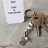 Schlüsselanhänger, Taschenbaumler, Kettenschmeichler, Edelstein Opal, Tatting, Occhi