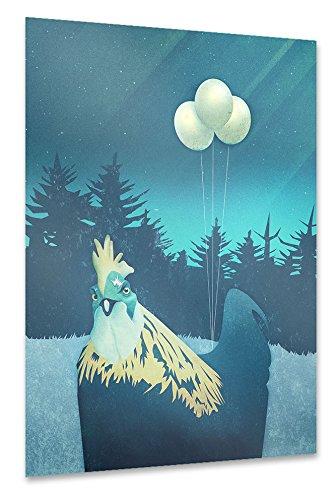 """artboxONE Poster 45x30 cm Tiere Natur Comic """"What the Hegg?!"""" blau hochwertiger Design Kunstdruck - Bild Tiere Natur Comic von Romina Lutz"""