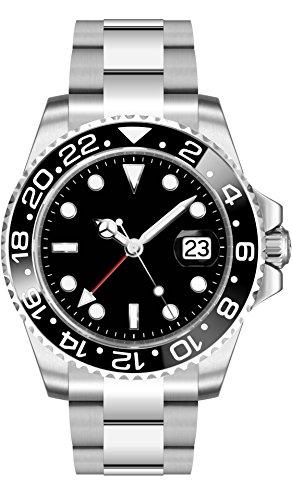 PARNIS 2034 RED GMT sportliche 40mm Herren-Automatikuhr GMT-Uhrwerk MZ2814 Saphirglas 316L Edelstahl-Gehäuse und Armband 5 Bar wasserdicht