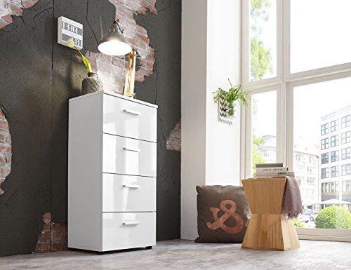 Schubladen Kommode Sideboard Anrichte Mehrzweckschrank Highboard Schrank MALAGA 5 mit 4 Schubkästen in hochglanz weiß - Weiß Mit Fünf Schubladen