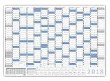 XXL Wandkalender DIN B1 2018 blau, nass abwischbar Jahresplaner Wandplaner Format 100 x 70cm gerollt
