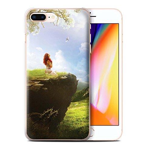 Officiel Elena Dudina Coque / Etui pour Apple iPhone 8 Plus / Océan/Epave Navire Design / Fantaisie Paysage Collection Champ Vert