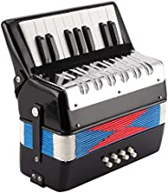 Eujgoov acordeón piano musical teclado entrenamiento de ritmo instrumento de resorte 17 teclas 8 bajos negro