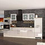 Pharao24 Hochglanz Küche in Weiß Eiche Sonoma E-Geräte (14-teilig)