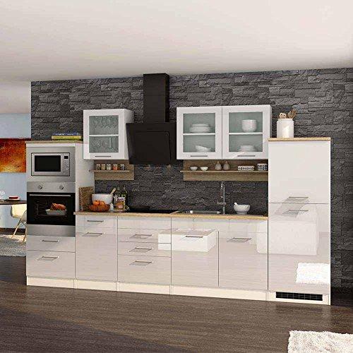 Pharao24 Hochglanz Küche in Weiß Eiche Sonoma E-Geräte