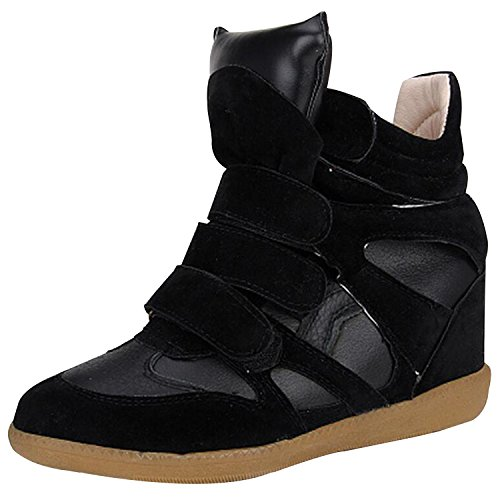 Womens Ladies Faux Leather Ankle High Top Paneled Wedge Trainers Sneakers Shoes Black