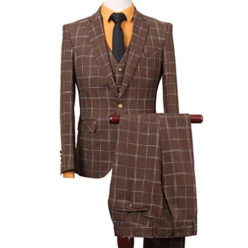 Set Elegante Casual Dress Slim Fit Blazer Cappotti Giacche vestiti Coffee (One Button Wool Blazer)