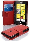 Cadorabo Nokia Lumia 520 Custodia di Libro di Finta-Pelle Struttura in Rosso Cremisi - con Vani di Carte e Chiusura Magnetica - Portafoglio Cover Case Wallet Book Etui Protezione