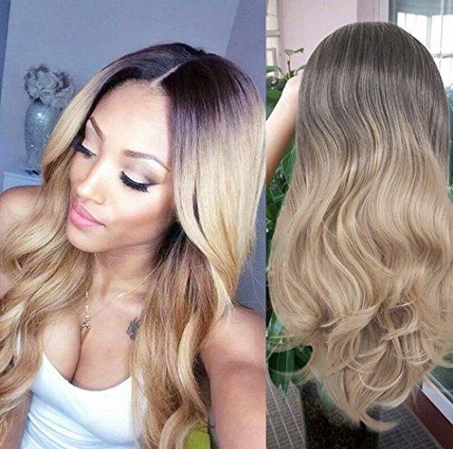 aukmla Perücken für Frauen Ombre Farbe Braun/Blond Lange lockiges Haar Stücke, hitzeresistente Synthetik Cosplay Party Perücke