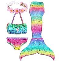 ONMet 2018 Verano Sirena Más Reciente de Las alas de Natación Traje de Baño de Niñas Traje de Baño 3 Piezas Conjunto de Bikini