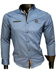 Herren Slim Fit Hemd jeans optik