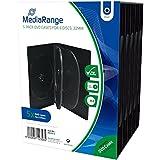 MediaRange BOX35-6 -Estuches de 6 ranuras para CD, DVD y Blu Ray con bolsillo de cubierta transparente, 22 mm, negro, paquete