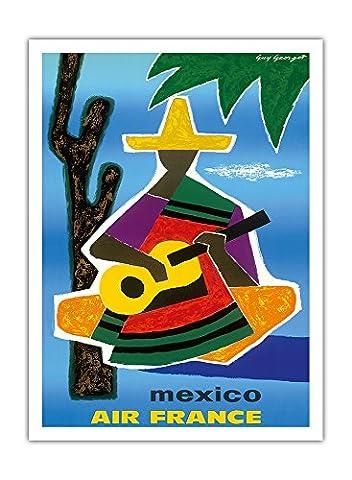 Mexique - Air France - Mexique joueur de guitare avec sombrero et Pancho - Airline affiche vintage de voyage Vintage Airline Travel Poster by Guy Georget c.1963 - Prime 290gsm Giclée Imprime - 30.5cm x