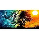TZAMLI Vollbohrung DIY 5D Diamant Malerei Mosaik Sonne und Mond Baum Stickerei Malerei Kreuzstich Dekoration Kunst Handwerk für Home Wand Dekor (Stil 2, 40x50cm)