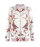 SunIfSnow Women Casual Zip Up Red Flower Birds Floral Print Bomber Jacket M