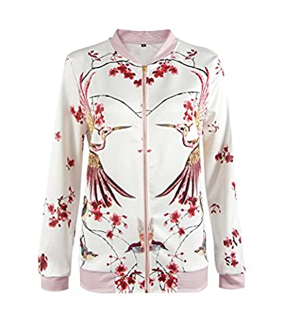 SunIfSnow Women Casual Zip Up Red Flower Birds Floral Print Bomber Jacket XL