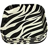 Decornt Appetizer Plate/Snack Plate/Chat Plate/Quarter Plate; Made Of Food-Grade Melamine; Length 6 Inches X Breadth 6 Inches; Square Shape; Set Of 4; Black & White Color.