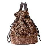 fairysan Crochet Borsa a tracolla in tessuto paglia Borsa Zaino senza materiale in rattan