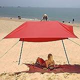 Acecoree Sonnenschutz Segel 3 x 3m, Sonnensegel Strand Sonnendach Sonnenzelt Schattenspender für Garten Camping Strand (Rot)
