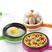 PETRICE Compact and Versatile Egg Boiler + Non-Stick Electric Frying Pan (Colour May Vary)