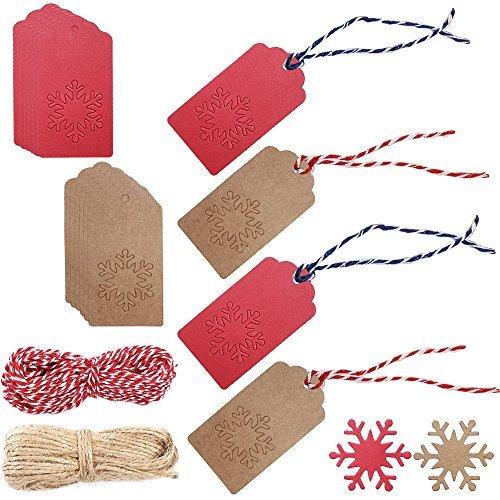200Stück Weihnachten Papier Geschenk Tags, snowflake-shaped, mit 40Meter–131Füße natur Juteschnur, Senhai Urlaub Aufhängen Etiketten, rot, braun