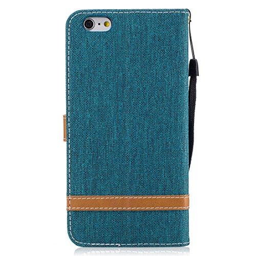 Nancen Wallet Case Hülle für Apple iPhone 6 / 6S (4,7 Zoll) ,länglich-Taste Magnet ,Muster Flip Funktion Kartenfächer Etui ,Schütze Dein Telefon Jeans-Muster-4