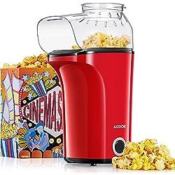 Aicook Machine à Pop Corn, 1400W Popcorn Popper automatique de grande capacité, air chaud sans huile, Couvercle Amovible, Sans BPA