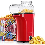 Machine à Pop Corn, Aicook 1400W Retro Popcornmaschine Maker, Air Chaud Sans Gras Huile, Grande Capacité, Rouge