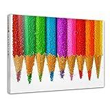 Bilderdepot24 Kunstdruck - Buntstifte - Bild auf Leinwand - 40x30 cm einteilig - Leinwandbilder - Bilder als Leinwanddruck - Wandbild