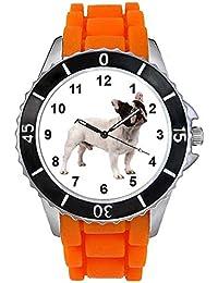 Bulldog francés Unisex Reloj para hombre y mujer con correa de silicona naranja
