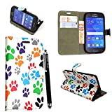 Samsung Galaxy A5 2016 (SM- A510) Case, Kamal Star® PU Leather Premium Magnetic Flip Case Cover + Stylus (Multi Dog Cat Paw Print Book)